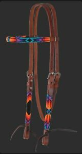 Circle Y Harness Leather Infinity Wrap Sunset Beaded Browband Bridle X0223-4069