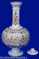"""12"""" Marble Carnelian Flower Vase  Marquetry Floral Inlaid Work Home Decor H2092"""