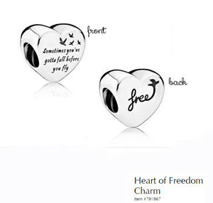 PANDORA Charm Sterling Silver ALE S925 HEART OF FREEDOM  791967