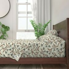 Floral Botanical Blue Modern Nursery 100% Cotton Sateen Sheet Set by Roostery
