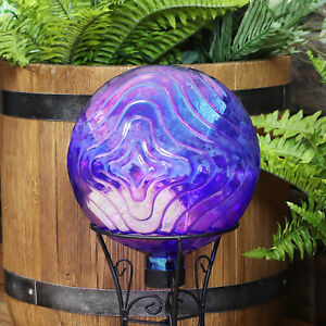 Sunnydaze Blue Peaceful Waves Rippled Outdoor Glass Gazing Globe - 10-Inch