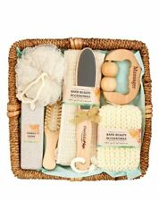 Essential Design Bath and Spa Gift Set in Rattan Basket, 8 pieces