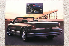 FACT-INFO CARD ~ 1988 OLDSMOBILE CUTLASS SUPREME ~ INDIANAPOLIS 500 PACE CAR