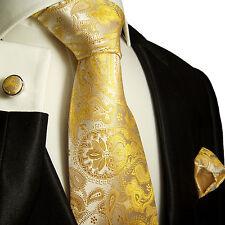 Krawatten Set 3tlg gelb paisley SEIDE Paul Malone 427