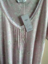 Marks & Spencer Ladies Nightdress Pink Cotton Mix Short Sleeve Size 6 Nightwear
