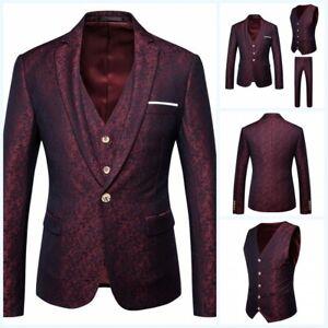 Men's Formal Dress Printed Suit 3PCS Blazer Jacket Pants Vest Wedding Party Prom