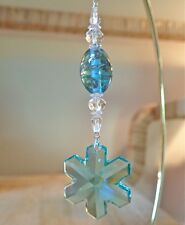 =^..^= Ant Green Snowflake Ornament made with 35mm Swarovski Crystal 8811 LOGO S