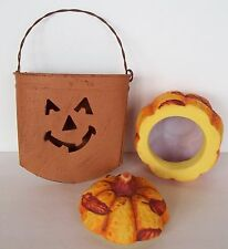 2 Halloween Thanksgiving Fall Autumn Decorations Tin Hanging Pumpkin Leaves 2001