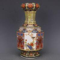 "10"" Chinese Porcelain Colour Enamels Peach Flower Magpie Bird Garlic Bottle Vase"