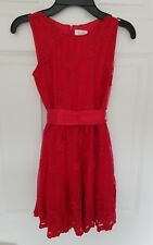 Children's Place Girls Red Lace Holiday Dress, Size 8
