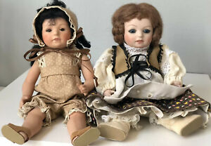 """Lot of 2 Reproduction of Antique 8"""" Miniature Porcelain Dolls Glass Eyes"""