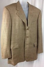 Hickey Freeman Boardroom 43L Houndstooth Brown Beige Lambs Wool Blazer Jacket