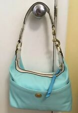 Coach Nylon & Leather Trim Purse Hamptons Weekend Aqua Blue/White  L0685-F10798