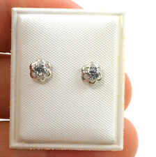 Tiny Sterling Silver Round Flower Earrings with Cubic Zirconia Safety Back