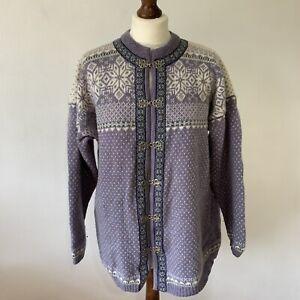 Squaw Valley Cardigan Wool Size XL Purple Nordic Fair Isle Retro Boho *damage