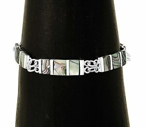 Inlaid Abalone Shell Silver Contemporary Modern Bracelet Jewelry Taxco Mexico