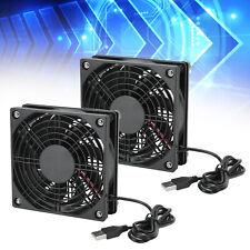 2Pcs DC5V PC Computer Case Cooling Fan Quiet USB Cooler Heat Sink 1200RPM 18dBA