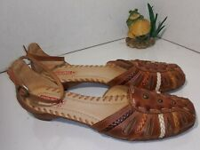 Pikolinos Brown Leather Sandals Ankle Strap Closed Toe Womens Size 41