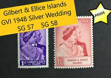 Gilbert & Ellice Islands KGVI 1948 Silver Wedding SG57  SG58  1d £1 MNH
