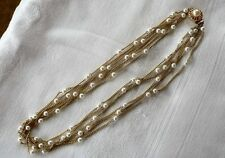 """Gold Tone & Faux Pearl 6 Strands Necklace 22"""""""