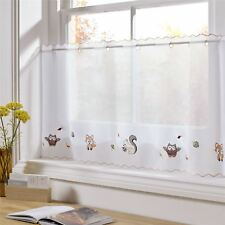 "Woodland Animals Embroidered 59 X 24"" – 150 X 61cm Kitchen Cafe Curtain Panel"