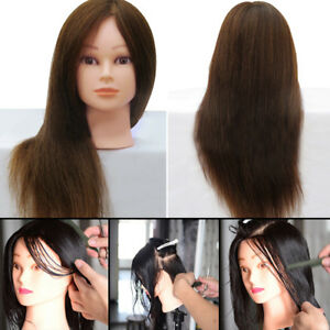 Real Human Long Hair Mannequin Hairdressing Training Head With Holder UK Hot