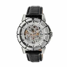 Reign Philippe Men's Automatic Skeleton Dial Black Leather Silver Watch RN4603