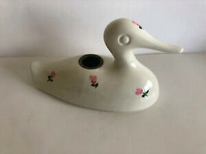 Rare Vintage McCoy Limited Ivory Duck Candle Holder Made in USA PinkFlowers