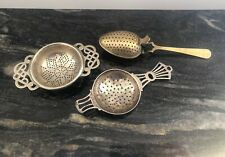 Lot Of 3 Vintage Tea Strainers All Silver Plated Spoons Tea Bag Infuser