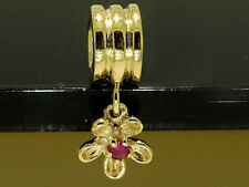 Genuine 9ct Gold Natural Ruby Flower Dangle Bead Charm