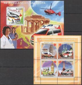 Sao Tome 2008 MNH MS+SS, Ambulance in Europe, Medicine, Eiffel Tower, Pisa
