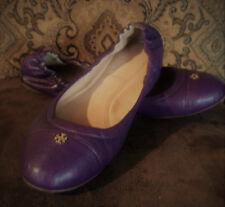TORY BURCH York Ballet Flats Violetta Purple Saffiano Leather Size 10M