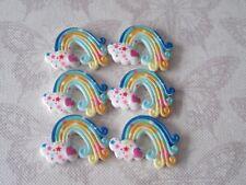 x6 Small Rainbows Resin FlatBack Cabochon Decoden Kawaii Craft Embellishment Bow