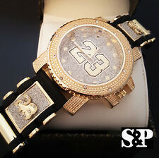 MEN ICED OUT TECHNO PAVE GOLD PT NUMBER 23 HIP HOP BULLET SILICONE BAND WATCH