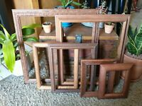 Vintage 6 Wood PICTURE FRAME Lot Recycle Arts Crafts Project Deco geo