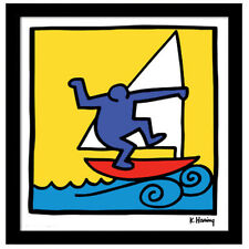 Keith Haring WINDSURFER RED BOAT Framed 12x12 Giclee Pop Art Print