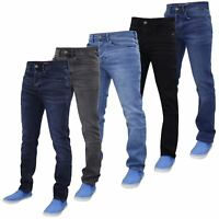 Life & Glory Mens Slim Fit Jeans Designer Stretch Button Denim Trousers Pants
