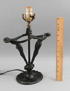 Antique 1920s Art Deco Nude Dancing Woman Spelter Table Light Lamp No Reserve