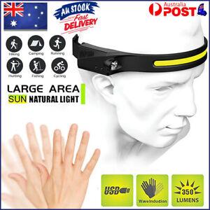 COB LED Motion Sensor Head Torch Headlight USB Waterproof Headlamp Rechargeable