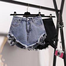 Women Loose Lace Up Denim Hollow Out Shorts Ripped Hot Pants Jeans Plus Size