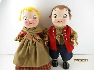 """Vintage Rare Campbell Soup Doll Boy Girl Patriotic COLONIAL 10"""" Set of 2"""