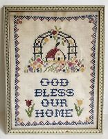"God Bless Our Home 13"" Vtg Cross Stitch Sampler Framed Garden Flowers Trellis"