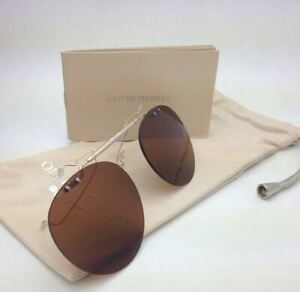 New OLIVER PEOPLES 5186C 5039 Gregory Peck Polarized Flip-up Clip-on Gold &Brown