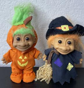 Set of 2 Vintage Troll Dolls Halloween Russ Witch Pumpkin Toys