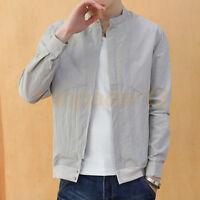 New Mens Jackets Casual Coats Collar Slim Short Thin Coat Long Sleeve Fashion