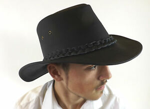 New Leather Hat Black Bute Australian Country Classic Bush Size S M L XL XXL