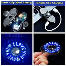 Fidget Hand Spinner Cigarette Lighter Up LED LOVE Pattern Flash Light USB Charge