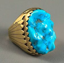 44g MASSIVE Solid 14k Gold ALICE QUAM (d) GEM Kingman Turquoise MENS Ring Sz 11