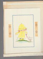 """HOPE YOU'RE BETTER SOON Cute Girl Raincoat w/ Dog 7x9"""" Greeting Card Art #C9315"""