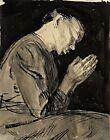 Woman in prayer by German  Käthe Kollwitz. People .  11x14 Print
